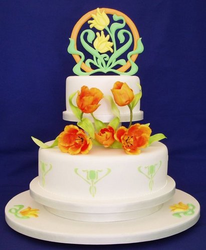 Art Nouveau Wedding Cake: WOW Cakes by Wendy Broadhead