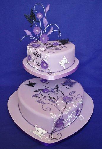 Lilac Hearts Wedding Cake Wow Cakes By Wendy Broadhead