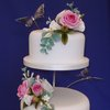 Roses and Butterflies Wedding Cake